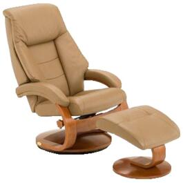 Sand Oslo Leather Swivel Recliner, with Ottoman thumb