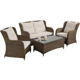 4 Piece Melrose Wicker Conversation Set thumb