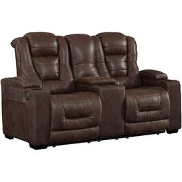 Walnut Solana Power Recliner Loveseat, with Console thumb