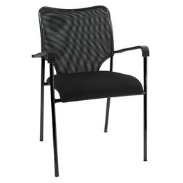 Black Mesh Low Back Reception Chair, with Upholstered Seat thumb