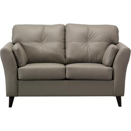 Light Grey Leather Match Loveseat thumb