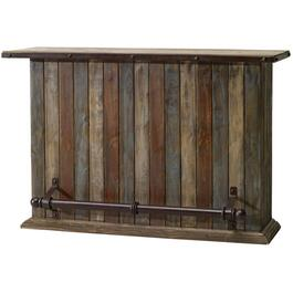 Pine Bar, with Iron Footrest and Wine Rack thumb
