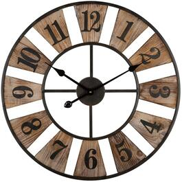 "24"" Wood Uma Wall Clock, with Metal thumb"