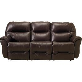 Brown Leather Match Recliner Sofa thumb