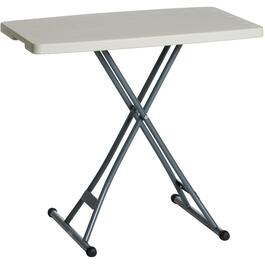 "20"" x 30"" White Plastic Adjustable Rectangular Folding Table thumb"
