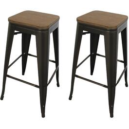 2 Pack Metal Bamboo Bar Height Stools thumb