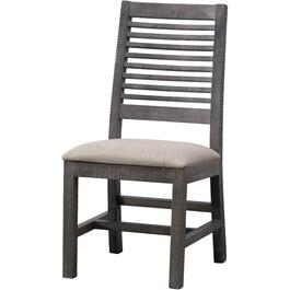 Grey Stone Wood Side Chair, with Upholstered Seat thumb