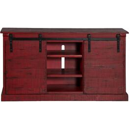 "65"" x 18.5"" x 35"" Burnt Red Barn Door Style TV Console thumb"