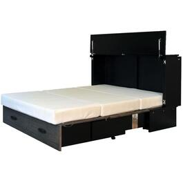 Black/Grey Metro Queen Cabinet Bed, with Gel Memory Mattress thumb