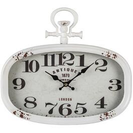 "18"" x 16"" White Sophie Metal Wall Clock thumb"