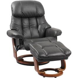 Charcoal Grey Leather Match Nicholas II Recliner, with Storage Ottoman thumb