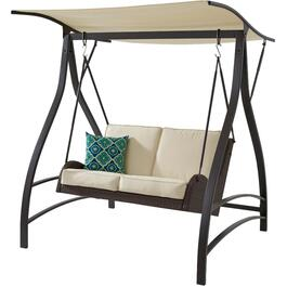 Brown Steel and Wicker 2 Seat Swing, with Cushions thumb
