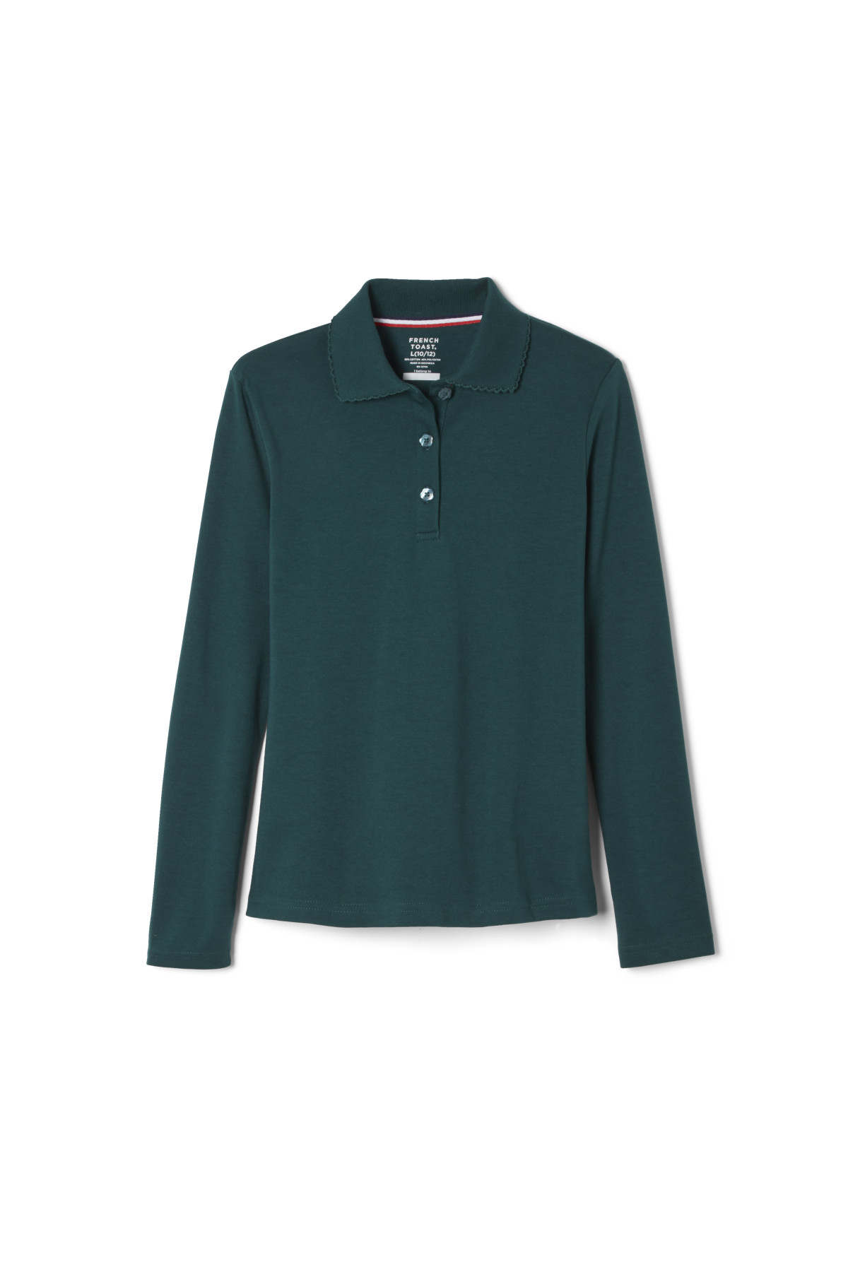 Discontinued French Toast Girls Ls Interlock Picot Polo