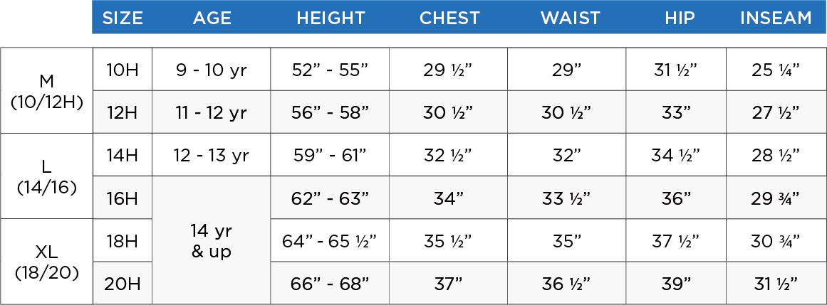 boys jersey size chart