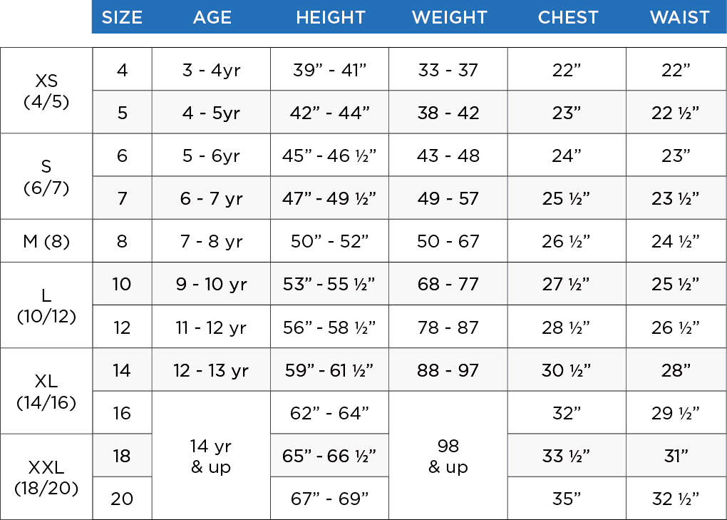 boys tops size chart