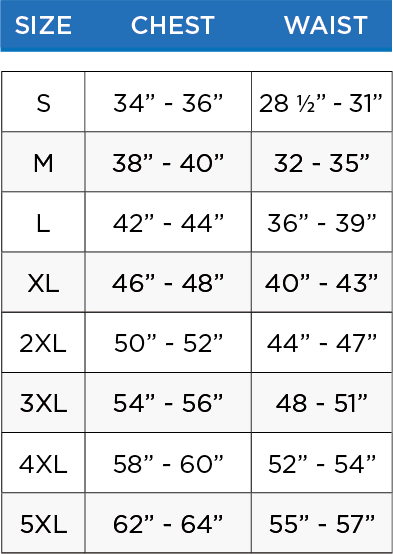 mens tops size chart