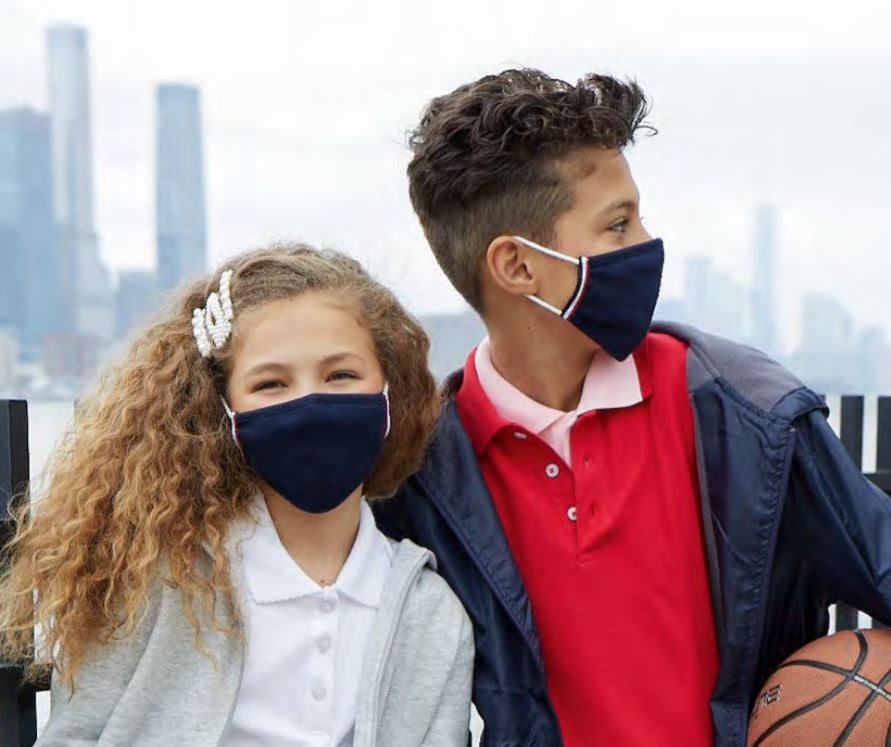 Girl and Boy in Cloth Face Masks