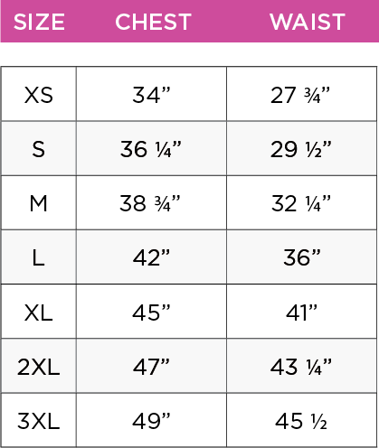 womens tops size chart