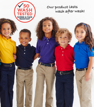 "OUR ""50 WASH TESTED"" schoolwear.  From play time to class time."