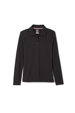 Product Image with Product code 1466,name  Long Sleeve Interlock Knit Polo with Picot Collar (Feminine Fit)   color BLAC