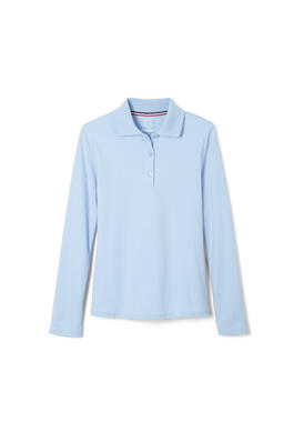 Product Image with Product code 1466,name  Long Sleeve Interlock Knit Polo with Picot Collar (Feminine Fit)   color BLUE