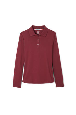 Product Image with Product code 1466,name  Long Sleeve Interlock Knit Polo with Picot Collar (Feminine Fit)   color BURG