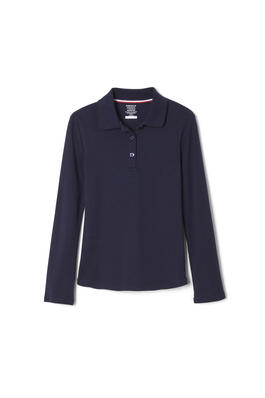 Product Image with Product code 1466,name  Long Sleeve Interlock Knit Polo with Picot Collar (Feminine Fit)   color NAVY