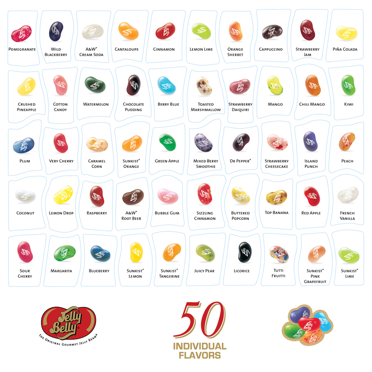 50 flavor jelly bean gift box 6 count case jelly belly candy