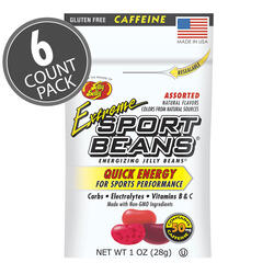 Extreme Sport Beans® Jelly Beans with CAFFEINE -  Assorted Flavors 6-Count Pack