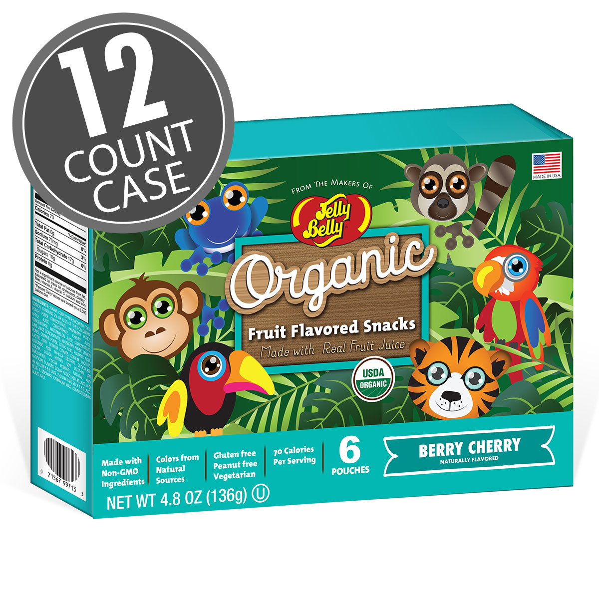 Organic Fruit Flavored Snacks - Rainforest Animals Berry Cherry - 12 Count Case