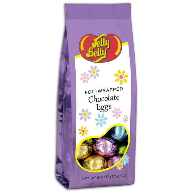 Foil-wrapped Solid Chocolate Eggs - 6 oz Gift Bag