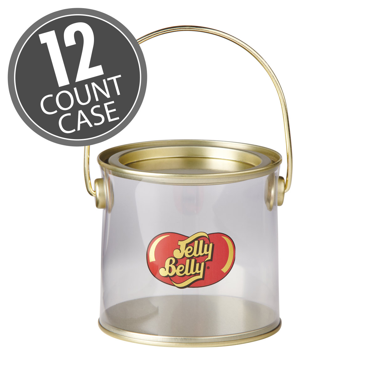 Jelly Belly Logo Clear Pail (Empty) - 12 Pails