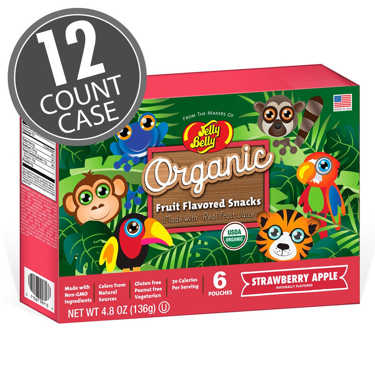 Organic Fruit Flavored Snacks - Rainforest Animals Strawberry Apple - 12 Count Case