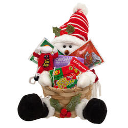 Snowman Knit Hat Holiday Basket