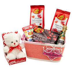 Happy Valentine's Day Candy & Confections Gift Basket with Teddy Bear