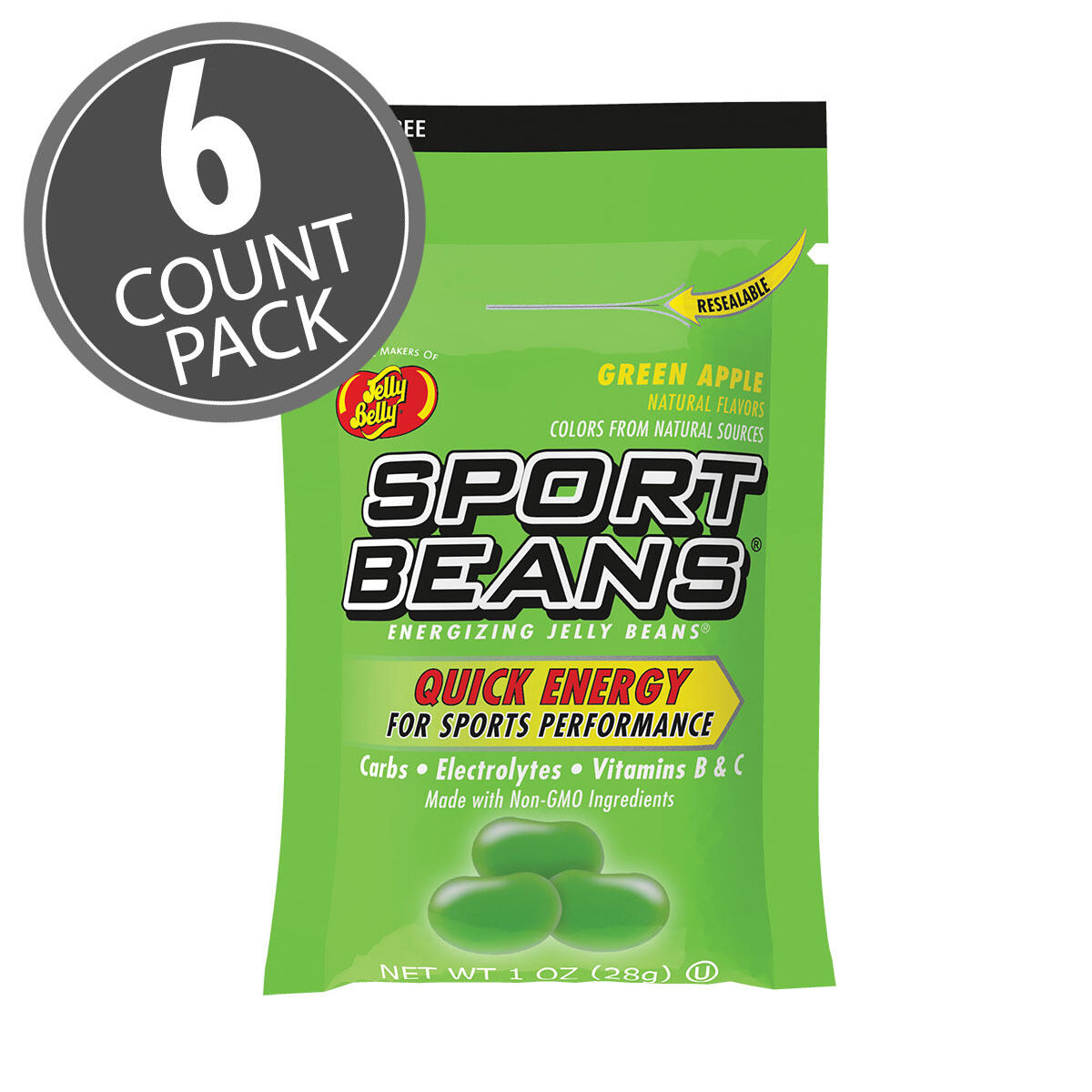 Sport Beans® Jelly Beans Green Apple 6-Count Pack