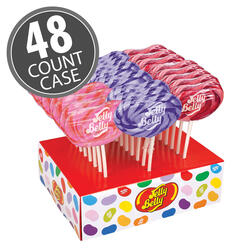 Jelly Belly Bubble Gum, Grape & Very Cherry Lollipops 48-Count Case