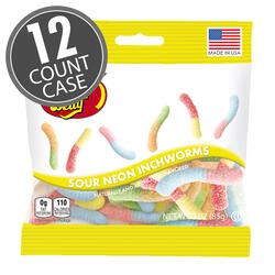 Sour Neon Inchworms - 3 oz Bag - 12 Count Case