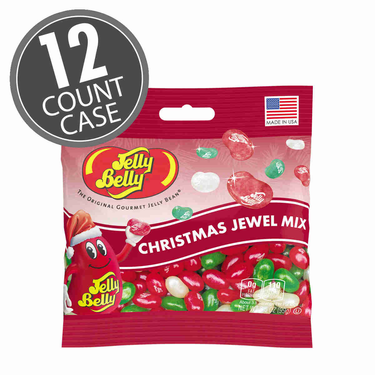 Jelly Belly Jewel Christmas Mix - 3.5 oz bags, 12-Count Case