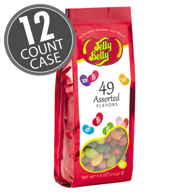 49 Assorted Jelly Bean Flavors - 7.5 oz Gift Bags - 12-Count Case