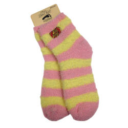 Jelly Belly Fuzzy Socks - Pink and Yellow - Medium