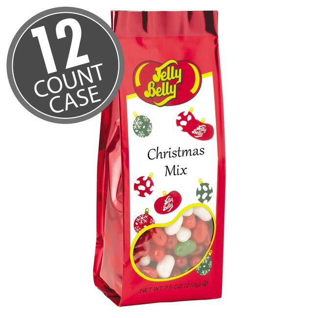 Jelly Belly Christmas Mix - 7.5 oz Gift Bags - 12-Count Case