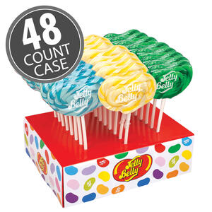Jelly Belly Lollipops 48-Count Case - Berry Blue, Buttered Popcorn & Green Apple