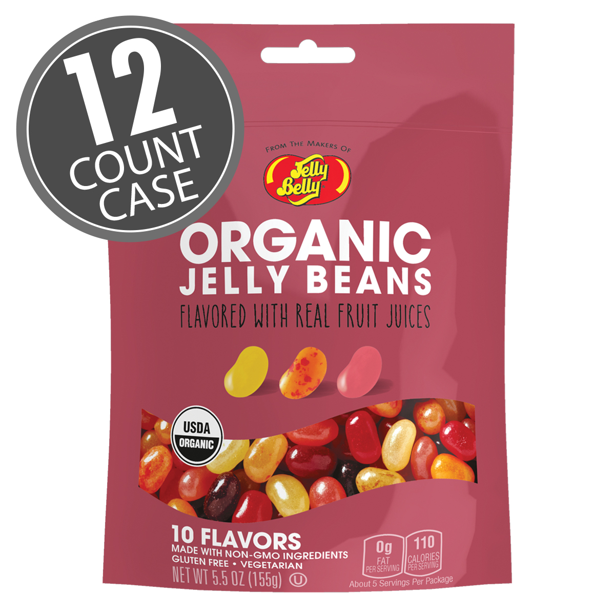 Organic Jelly Beans from the makers of Jelly Belly - 5.5 oz bag - 12 Count Case