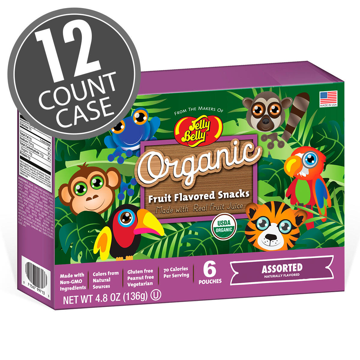 Organic Fruit Flavored Snacks - Rainforest Animals Assorted - 12 Count Case