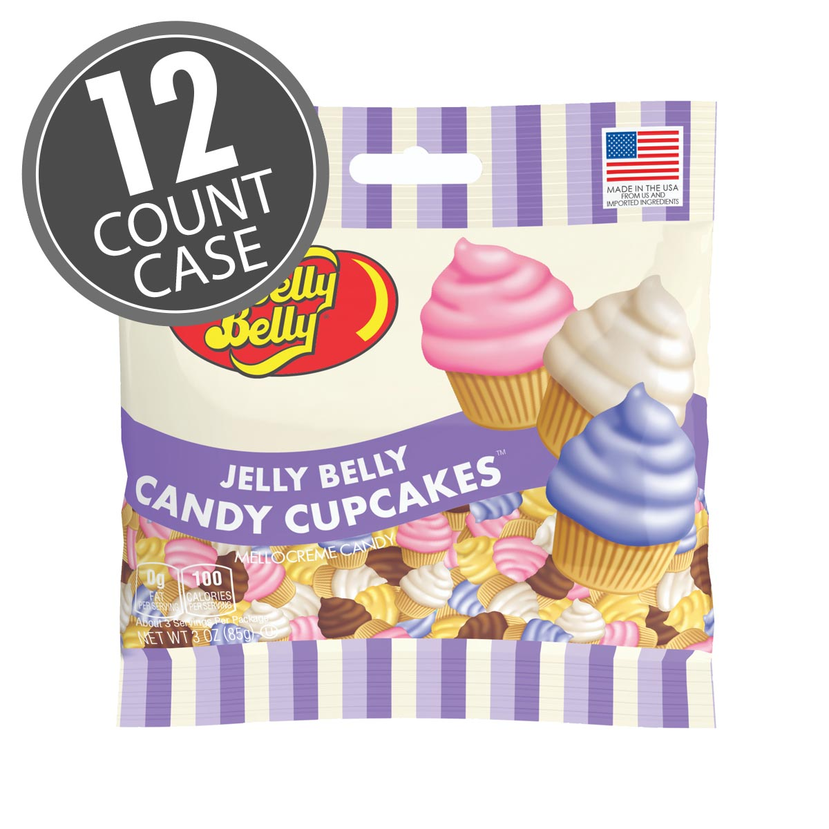 Jelly Belly Candy Cupcakes - 3 oz Bag, 12-Count Case