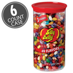 49 Assorted Jelly Bean Flavors - 3 lb Clear Can - 6 Count Case