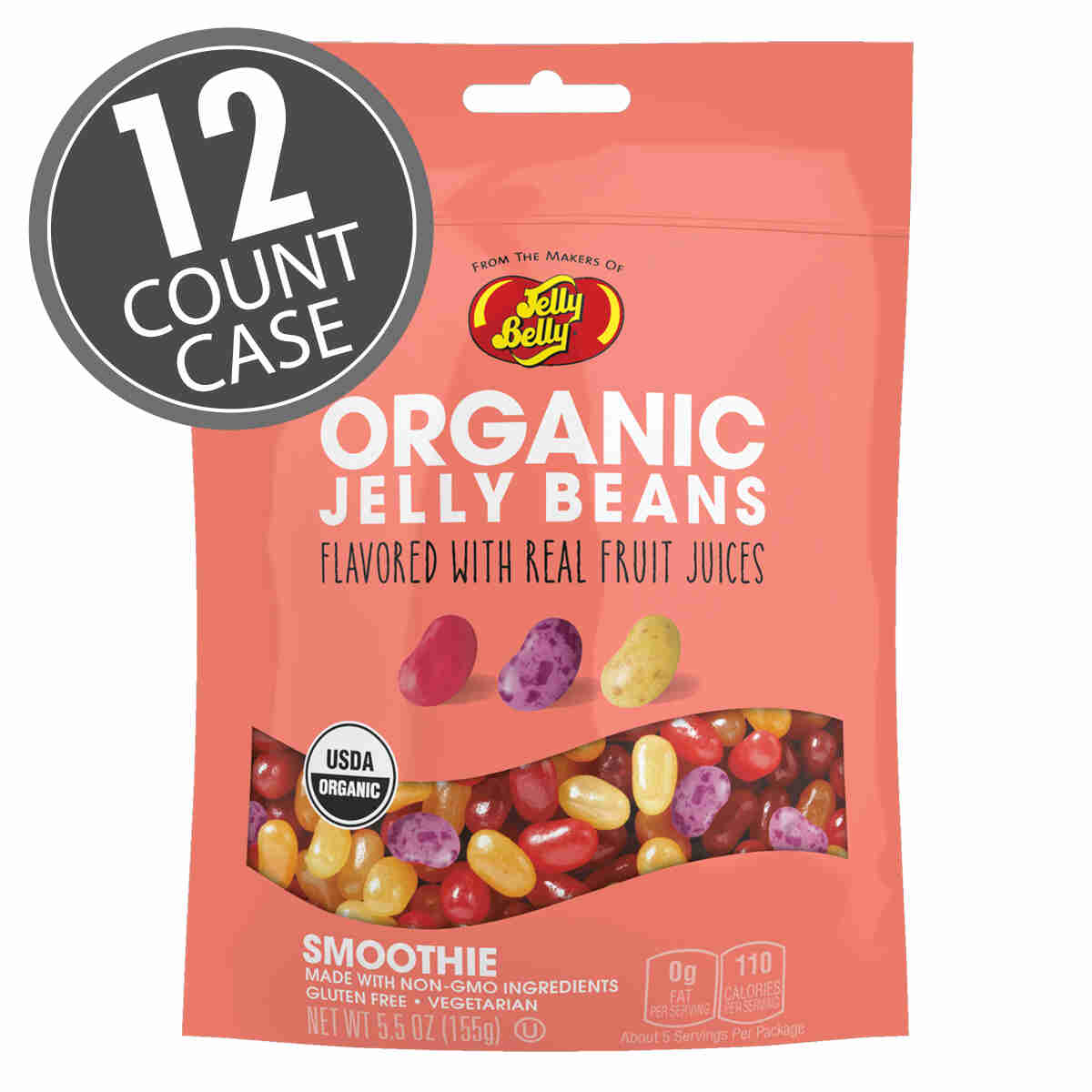 Organic Smoothie Jelly Beans from the makers of Jelly Belly - 5.5 oz bag, 12-Count Case