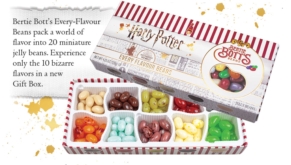 Bertie Bott's Every-Flavour Beans Gift Box. Bertie Bott's Every-Flavour Beans pack a world of flavor into 20 miniature jelly beans. Experience only the 10 bizarre favors in a new Gift Box