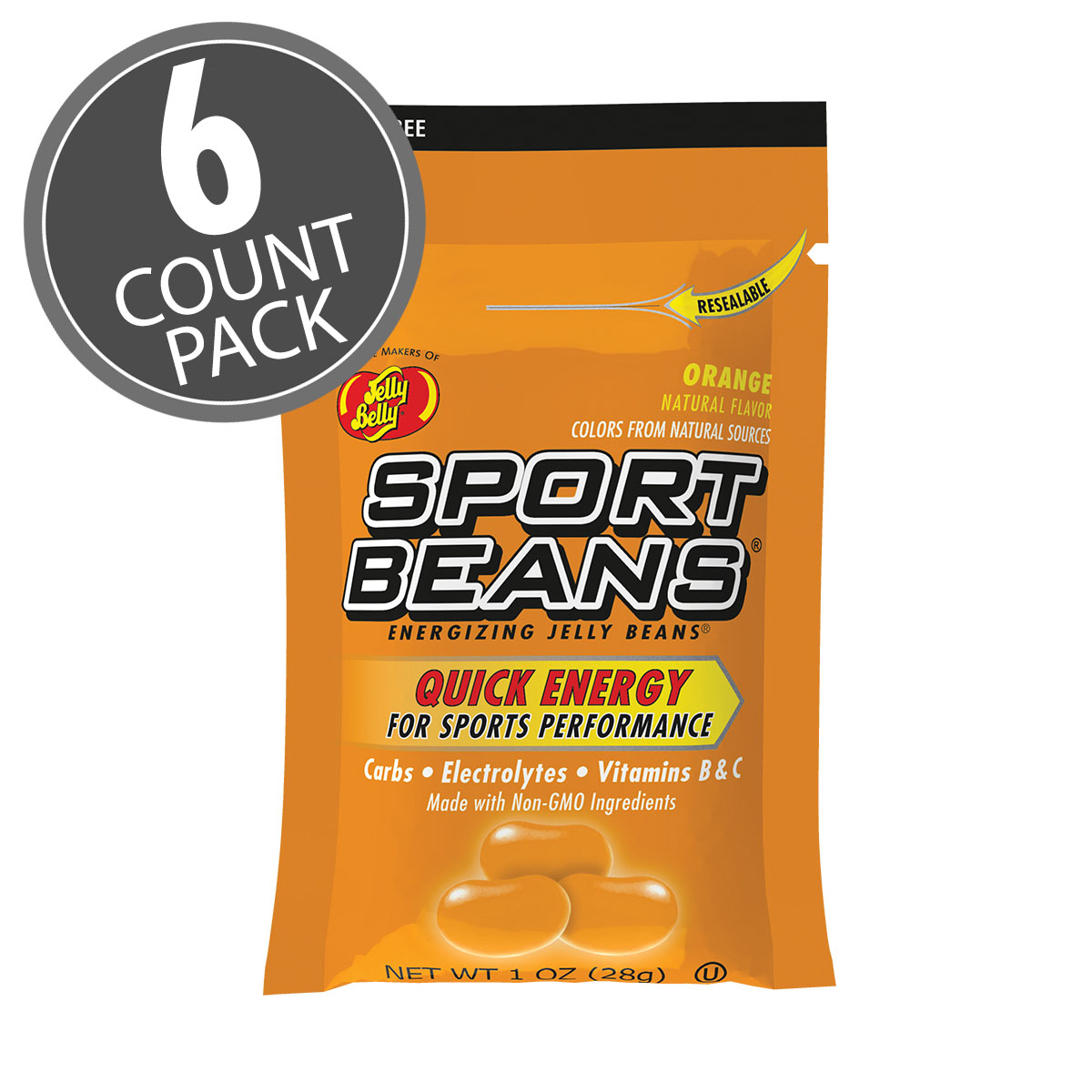 Sport Beans® Jelly Beans Orange 6-Count Pack